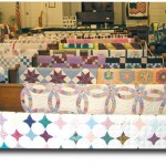 Quilts on display in the sanctuary of Hodgenville Christian Church.